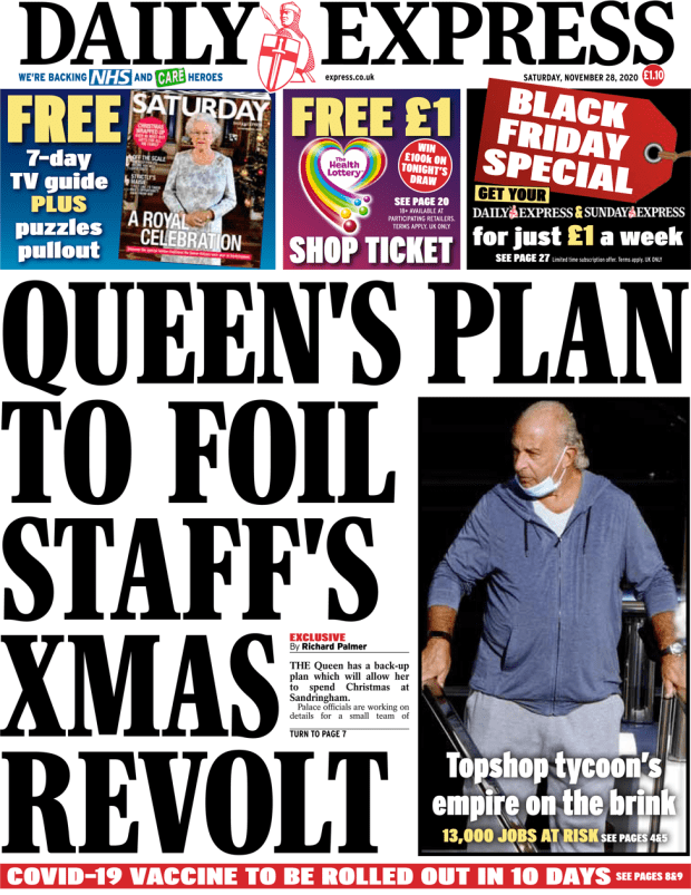 The Daily Express front page 28 November 2020