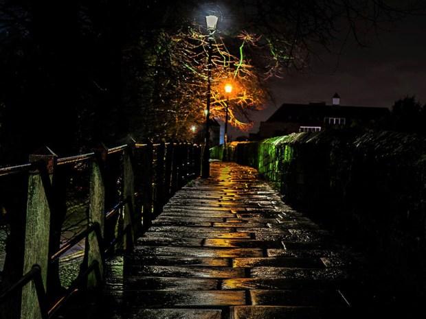 Chester city walls at night