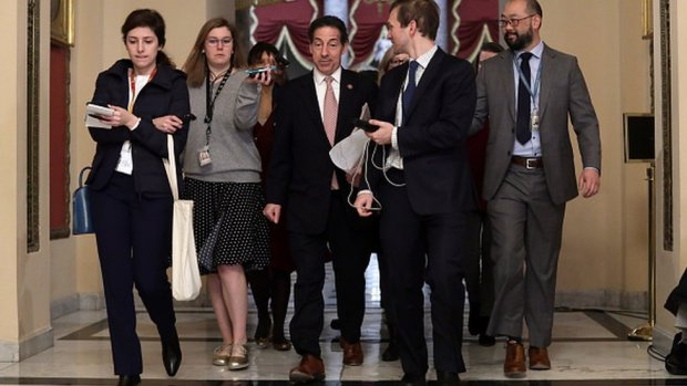 Jamie Raskin speaks to members of the media after he came out from the office of Speaker of the House