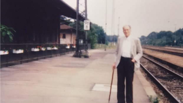 Frank Tuck in 1989 next to a German railway line