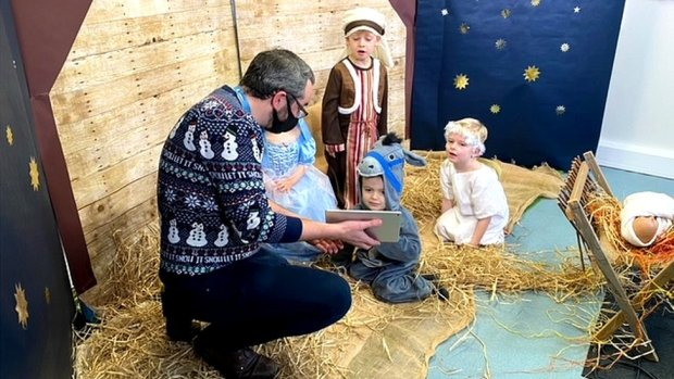 Matthew Wilkin and the children of Stanley Primary in Ardrossan have been working hard on their virtual nativity