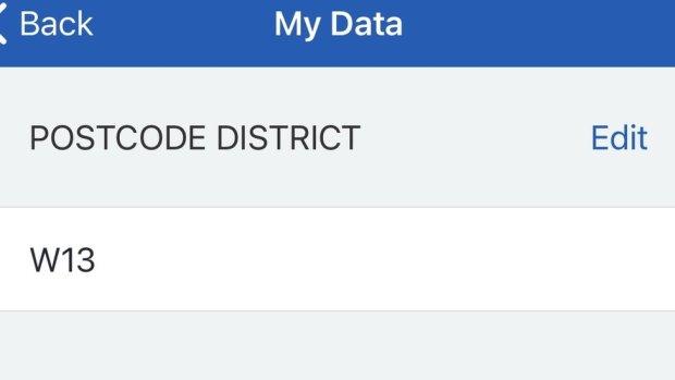 "postcode edit screen in ""my data"" on app"
