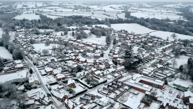 Snow covering the village of Oulton in Staffordshire