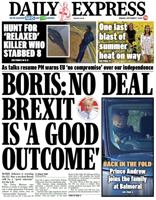 Daily Express front page, 7/9/20