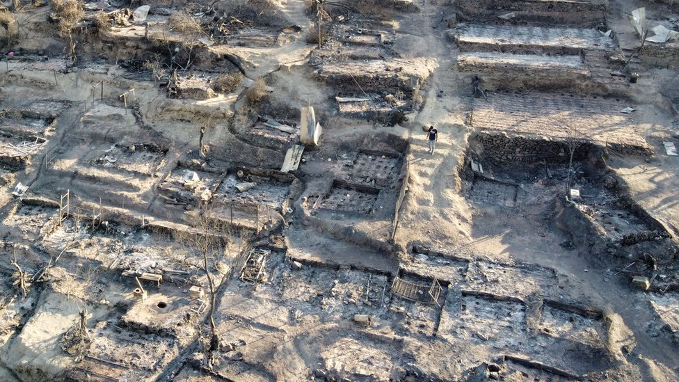 An aerial view of destroyed shelters following a fire at the Moria camp for refugees and migrants on the Island of Lesbos, Greece, 9 September 2020