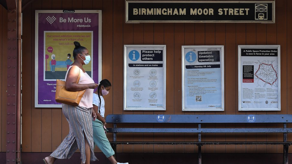 People at a train station in Birmingham