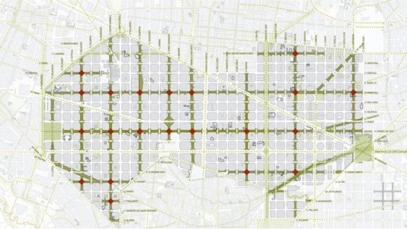 Plano que muestra la zona de poco tráfico de Barcelona. PGU Barcelona aumenta zonas verdes