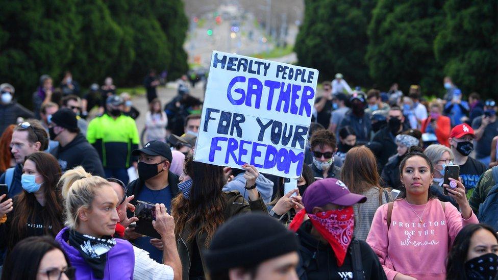 demonstrators in Melbourne