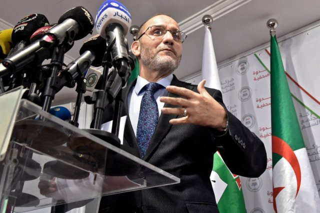 Movement of Society for Peace leader Abderrezak Mokri speaks at a press conference in September 2020.