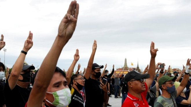 Anti-government protesters in Bangkok, 20 September 2020