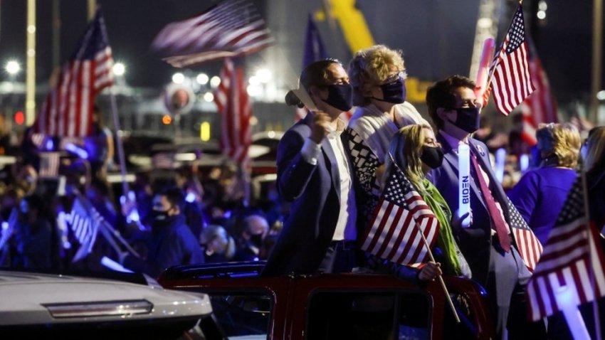 Joe Biden's supporters wait for the speech in Wilmington, Delaware