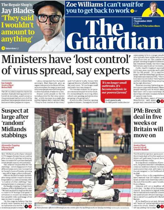 Guardian front page, 7/9/20