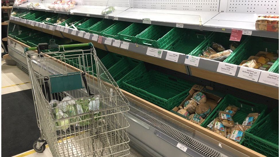 empty shelves at Wandsworth Waitrose