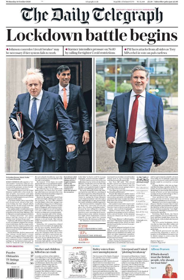 Telegraph front page 14/10/20