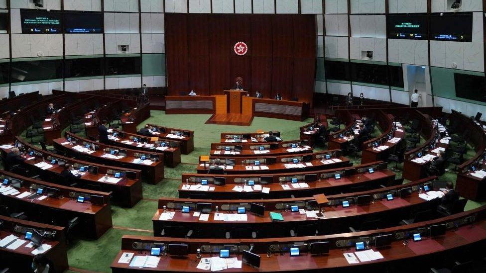 Legislators attend a Legislative Council (LegCo) meeting on November 4, 2020 in Hong Kong, China.