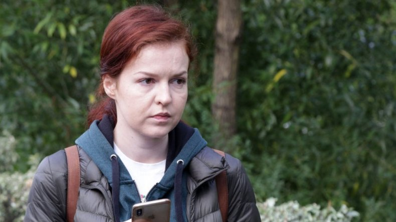 Kira Yarmysh outside Omsk hospital were Mr Navalny was first taken after falling seriously ill