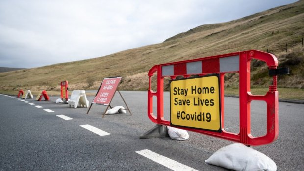 Layby in Brecon Beacons in Powys shut during the first national Covid lockdown in Wales