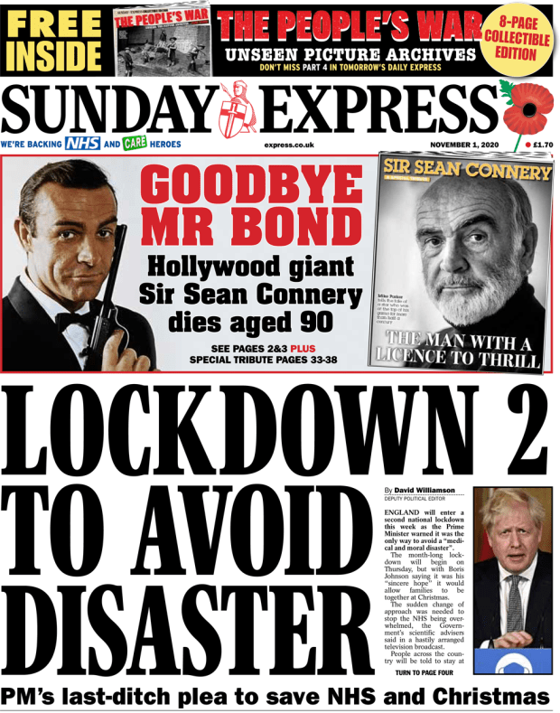 The Sunday Express front page 1 November 2020