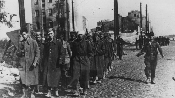 Polish fighters being led away