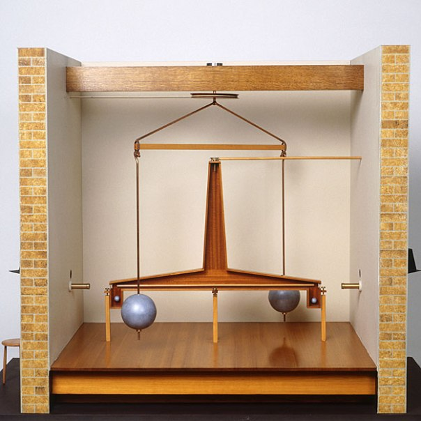 Modelo del aparato de Cavendish.