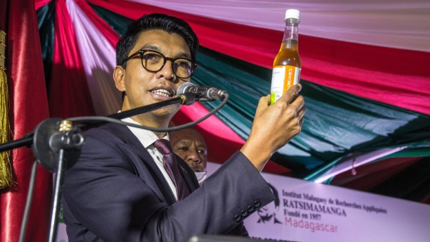 """The President of Madagascar Andry Rajoelina attends a ceremony to launch """"Covid Organics"""" or CVO, in Antananarivo, on 20 April 2020."""