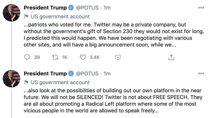 Donald Trump's tweets from @POTUS account, 8 January 2021