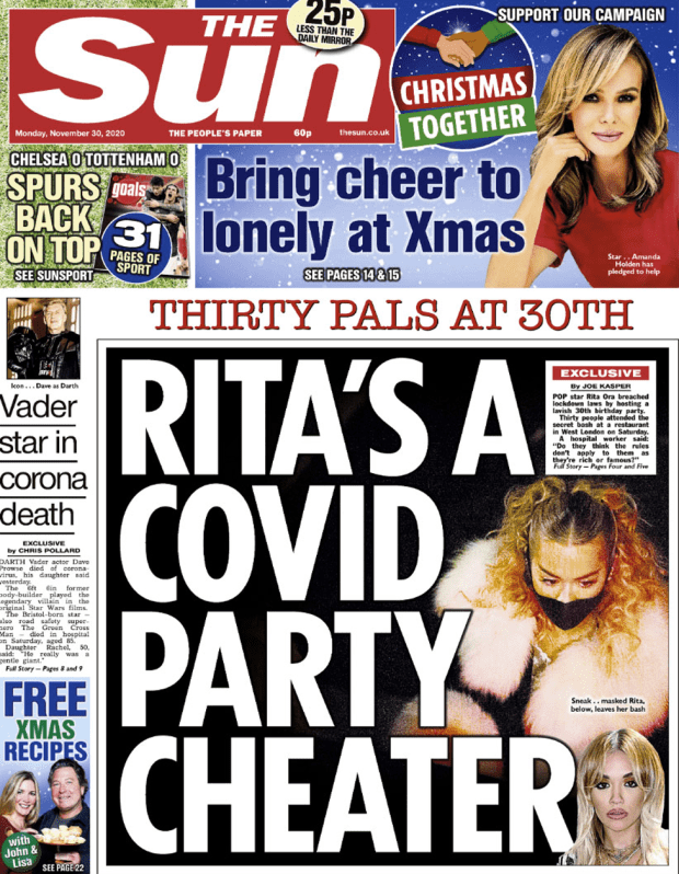 The Sun front page 30 November 2020