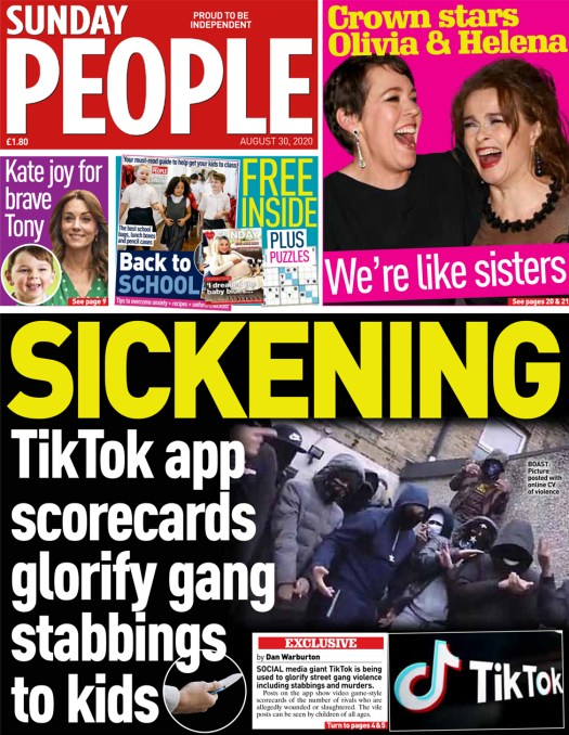 The Sunday People front page 30 August 2020