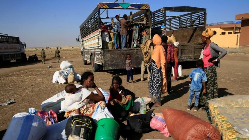 Ethiopians who fled the ongoing fighting in Tigray region
