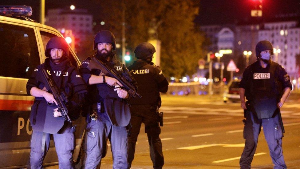 Police blocked streets near Schwedenplatz square in Vienna