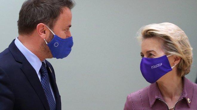 """Luxembourg""""s Prime Minister Xavier Bettel and European Commission President Ursula von der Leyen"""