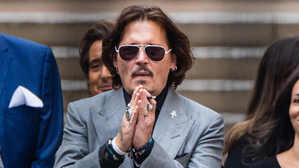 Johnny Depp leaves the Royal Courts of Justice, Strand on July 28, 2020 in London, England