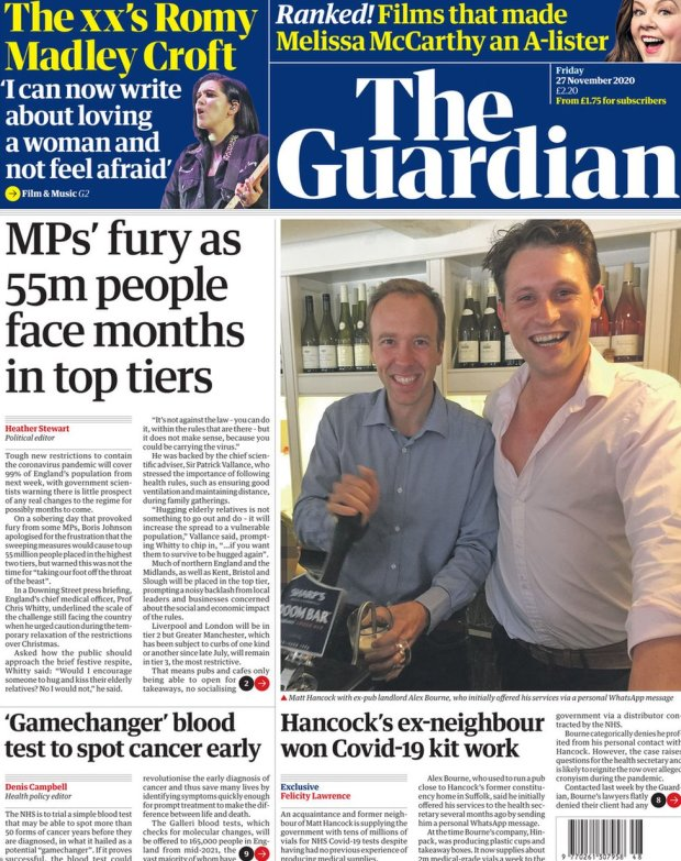 The Guardian front page 27 November