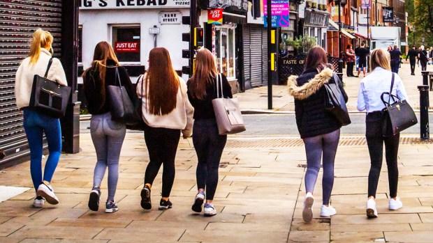 Young women walking