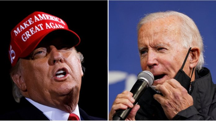 Donald Trump, left, and Joe Biden, right