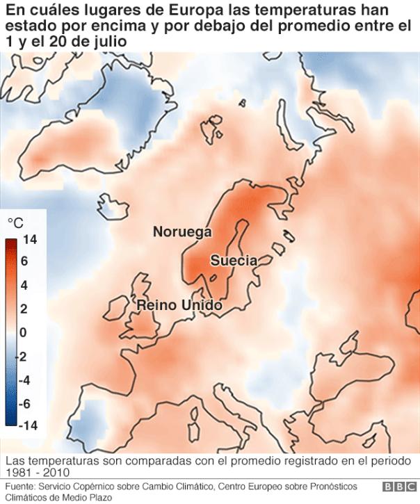 Lugares de Europa con temperaturas superiores e inferiores al promedio.
