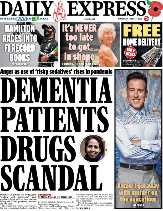The Daily Express front page 26 October