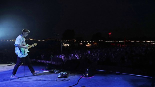 Sam Fender performing at Gosforth Park