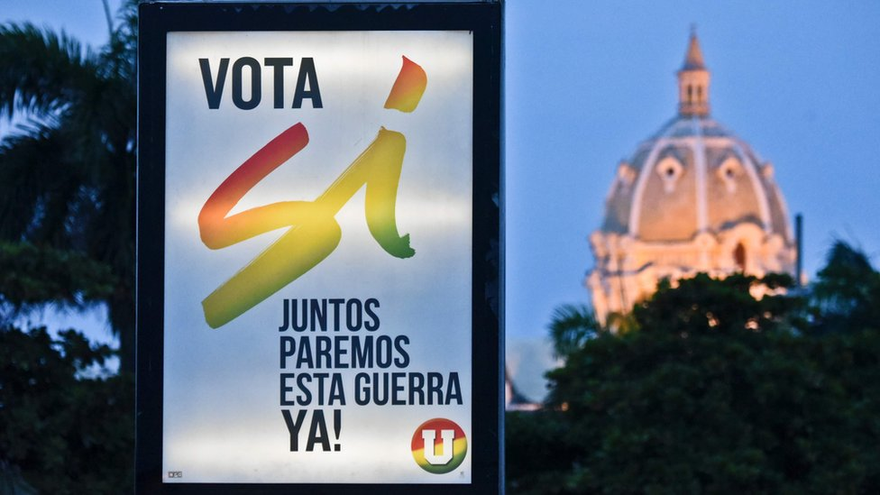 """Un letrero a favor del """"sí"""" en la ciudad de Cartagena."""