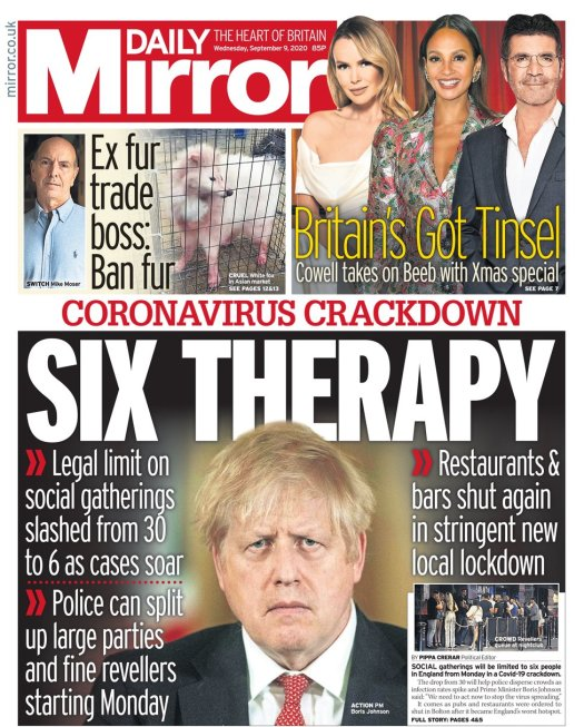 Front page of the Mirror