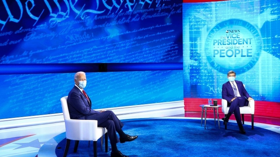 Joe Biden at the town hall event with moderator George Stephanopoulos