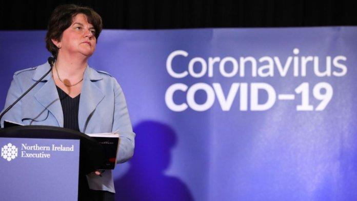 Arlene Foster at coronavirus briefing on May 1