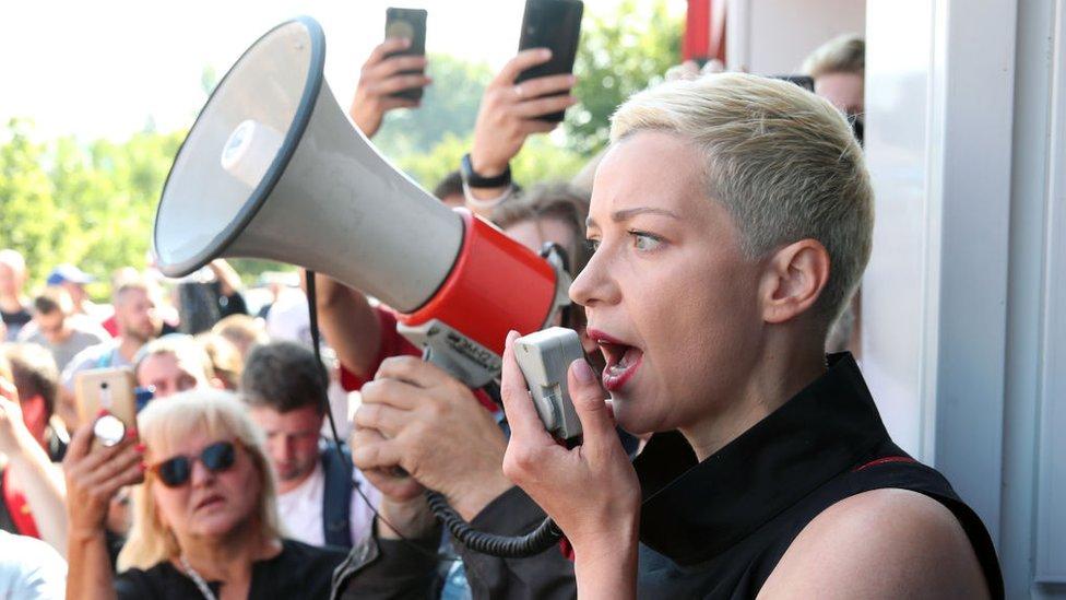 Maria Kolesnikova addressing demonstrators in August