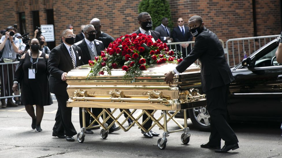 trump Mourners gather to remember George Floyd