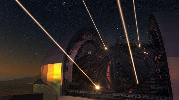 Ilustración de cómo se verá el Telescopio Extremadamente Grande o ELT durante la noche