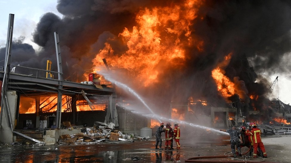 Lebanese firefighters try to extinguish a fire at Port of Beirut, Lebanon, on 10 September 2020