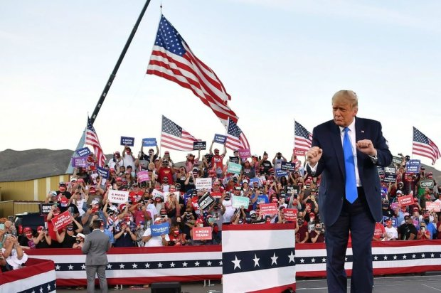 Trump dances at a rally in Carson City