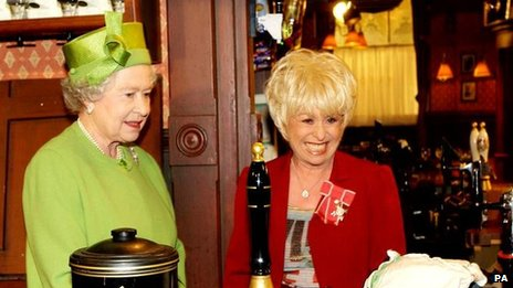 The Queen with Barbara Windsor on EastEnders set