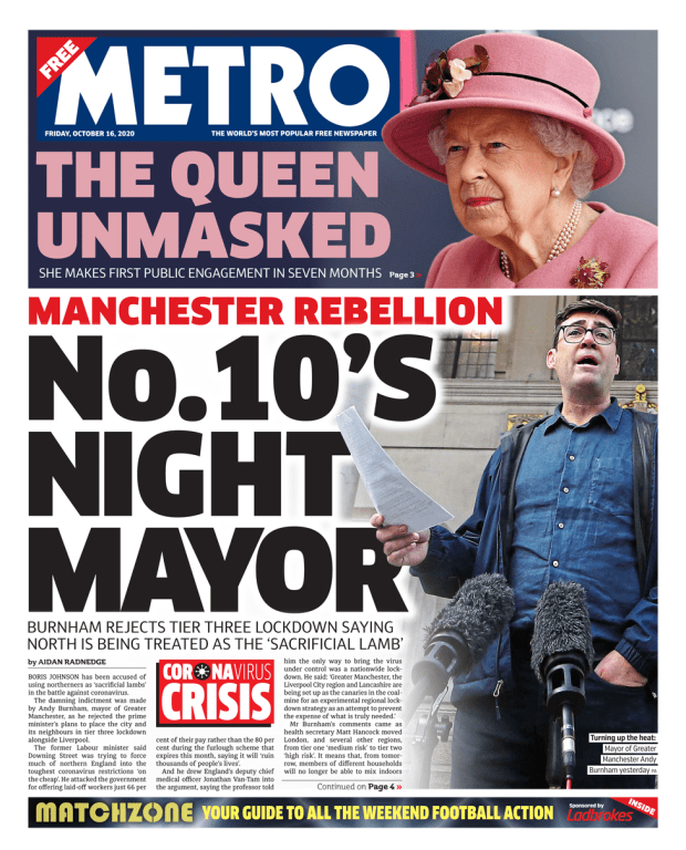 Metro front page 16/10/20