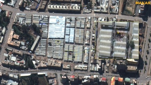 """A handout satellite image dated 30 November 2020 and made available by MAXAR Technologies shows damage to buildings at Mekelle market area, Tigray, north Ethiopia. Ethiopia""""s government on 29 November 2020 said their forces they were in full control of Mekelle, northern Tigray region""""s capital, after defeating the Tigray People""""s Liberation Front"""